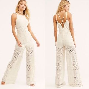 Free People Moon Bay Crochet One-Piece Jumpsuit